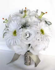 17 piece package Wedding Bouquets Bridal Silk Flower bouquet WHITE SILVER Winter