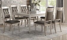 Lavish Dine Luxury Formal Dining Table 7pc Set Silver Trim Accent Tufted Chairs