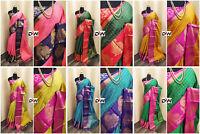 Rich Cotton Silk Saree Indian Bollywood Wedding Traditional Sari Blouse 4029