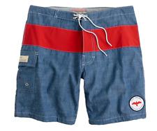 Men's Apolis + J.Crew Chambray Red Stripe Swim Trunks Sz 34 $69.50