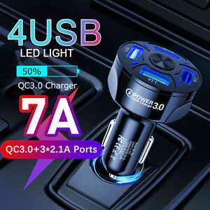 4 Port USB QC 3.0 Fast Car Charger Adapter for Samsung iPhone Android Cell Phone