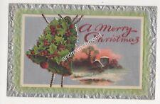 Christmas Embossed Holly Bell Birn Bros X261 Greetings Postcard 693b