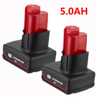 2X for Milwaukee M12 12 Volt XC 6.0 Extended Capacity Battery 48-11-2460 5.0AH