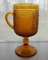 Tiara Indiana Glass Amber Sandwich 8 ounce Footed Cup Mug