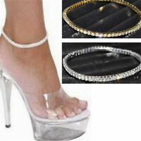 Damen Fußkettchen Zehenring Fußkette Armband Strand Fuß Kette Strass Armreif
