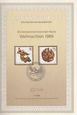 TIMBRE FDC ALLEMAGNE  BERLIN OBL ERSTTAGSBLATT NOEL EGLISE SAINT LORENZ  1989