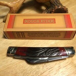 "Rough Ryder Red Worm Groove Bone Congress 4 1/8"" Pocket Knife RR2055"