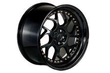 AODHAN DS-01 18x10.5 5x114.3 +22 Gloss Black w' Gold Rivets (PAIR) wheels