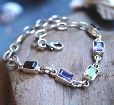 Armband Silber Amethyst Lila Peridot Grün  18 - 21 cm Armkette Eckig Schlicht