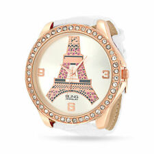 Eiffel Tower Paris White Dial Rose Gold Plated Watch Crystal White Leather Band