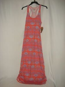 Route 66 Dress Long Cinched Bottom Sides Coral Orange Blue Summer Sun Small