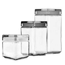 Anchor Hocking Stackable Square Glass Jar with Lid Storage Tea Coffee Lentils