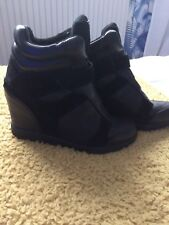 Dkny Calf Leather Trainers Boots Black Wedge 38.5 5 1/2