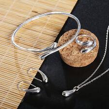 Women 925  Sterling Silver Plated Jewelry Set Bracelet Necklace Ring Earrings
