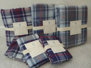 Pottery Barn Kids Set Graham Plaid Red, Blue Flannel Twin 3 Duvet Covers 3 Shams