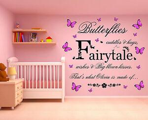 Personalised Name, 3D Butterflies Cuddles & Hugs, Wall Art Sticker, Fairytale