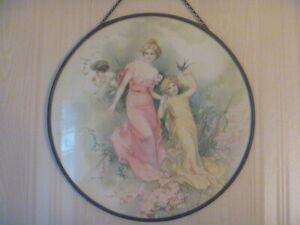 """Antique Chimney Flue Cover Victorian Girls Cherub  9 1/2"""""""