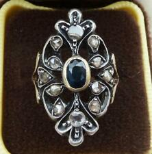 Stunning 18ct rose gold & silver victorian sapphire and diamond ring