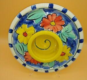 Australian BERRIMA Village Pottery Chip n Dip Platter hand painted FLORAL studio