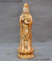 China Buddhism natural Old Jade Gilt Kwan-Yin GuanYin Bodhisattva Buddha statue