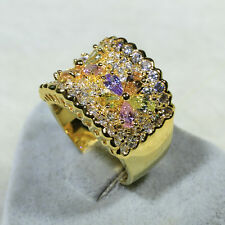 18K Yellow Gold Filled Color Crystal Lady Fashion Jewelry Band Ring R4596 Size10