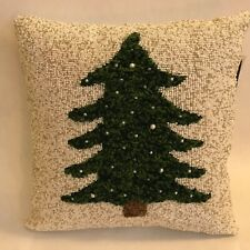 Christmas beaded pillow with Yarn Tree on front Holiday Party NEW