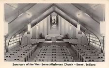 West Berne Indiana~Missionary Church Interior~Pews & Pulpit~Lighting RPPC c1950