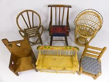 Lot of Vintage Dollhouse Furniture Bench Chair Rocking Wicker Primitive Rustic