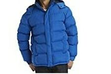 Men's Outwear Winter parka Quilted Rain Washable Hooded blue Jacket Coat  size L