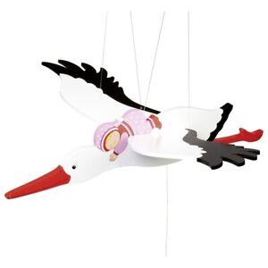 Vibrating Animal Wooden Swing Figure Stork With Baby Pink Goki 52929 Span Width