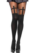 826 cruz Cross señora medias de nylon negro góticos