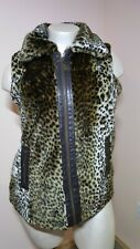 Style & Co Women's XL Brown Leopard Faux Fur Lined Zip Front Vest Costume