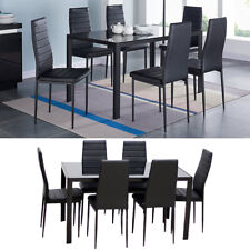 7 pieces Black Glass Dining Table and 6 Chairs Faux Leather Kitchen Dinning Set