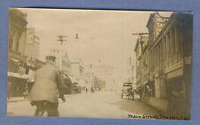 Vintage Photo Stockton California Main Street Man on Bicycle Horse Wagon 1908