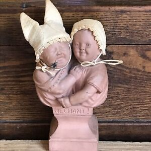 Antique French Terracotta Crying Baby With Fly & Happy Baby 19th C Pin Cushion
