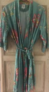 Kimono Morgenmantel Hausmantel PIP Studio Gr. M Blumenmuster türkis pink