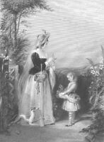 Victorian MOTHER DAUGHTER & DOG PICK FLOWERS in GARDEN, 1845 Art Print Engraving