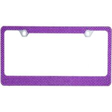 Bling Purple Crystal Diamon METAL License Plate Frame+Cap