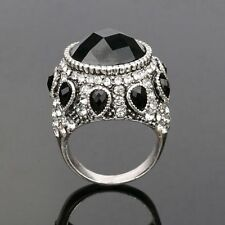 New Punk Style Women Jewelry Silver Plated Crystal Resin Wedding Black Big Rings