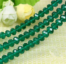 Hot 6x4mm Rondelle Glass Crystal Beads Hole Green 100pcs new