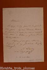 ✒ L.A.S. Jules LACROIX homme de lettres frère du bibliophile JACOB 1863