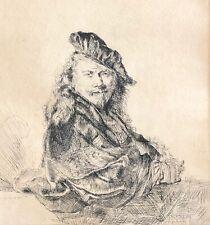 Rembrandt Harmenszoon van Rijn autoportrait tirage anonyme ? fin XVIIIe Rare !