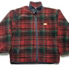 Woolrich Mens Fleece Jacket sz L Christmas Plaid Zipper Front Red Green Rare