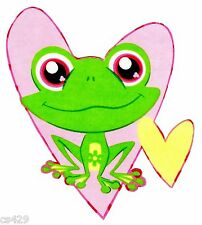 "6"" LITTLEST PET SHOP FROG HEART CHARACTER  FABRIC APPLIQUE  IRON ON"