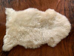 Genuine Sheepskin Rug Single Pelt 2x3ft Natural Ivory Sheep Wool Animal Fur Sale