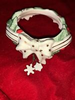 Yankee Candle Ceramic Candle Hugger Topper Christmas Holly & Berries ❤️tw11j