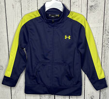 UNDER ARMOUR Boys Jacket Zip Front Size 3T Blue Neon Green Long Sleeve