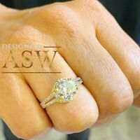 14K SOLID YELLOW GOLD ROUND CUT SIMULATED DIAMOND ENGAGEMENT RING PRONG 2.00CTW