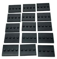 LEGO LOT OF 15 BLACK MINIFIGURE STAND PIECES 1 X 4 STUD DISPLAY PLATES COLLECTOR