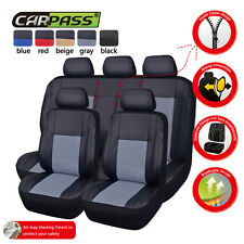 CARPASS PU Leather Auto car Seat Covers Full Synthetic Set 2Front &1Bench gray